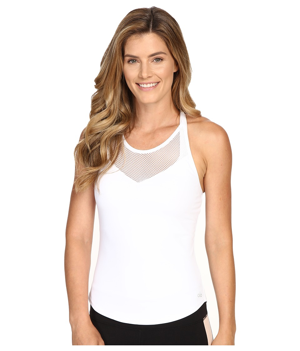 ALO - Elite Tank Top (White) Women's Sleeveless