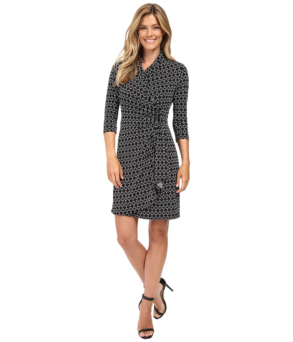 Karen Kane Cascade Wrap Dress (Black/Off-White) Women