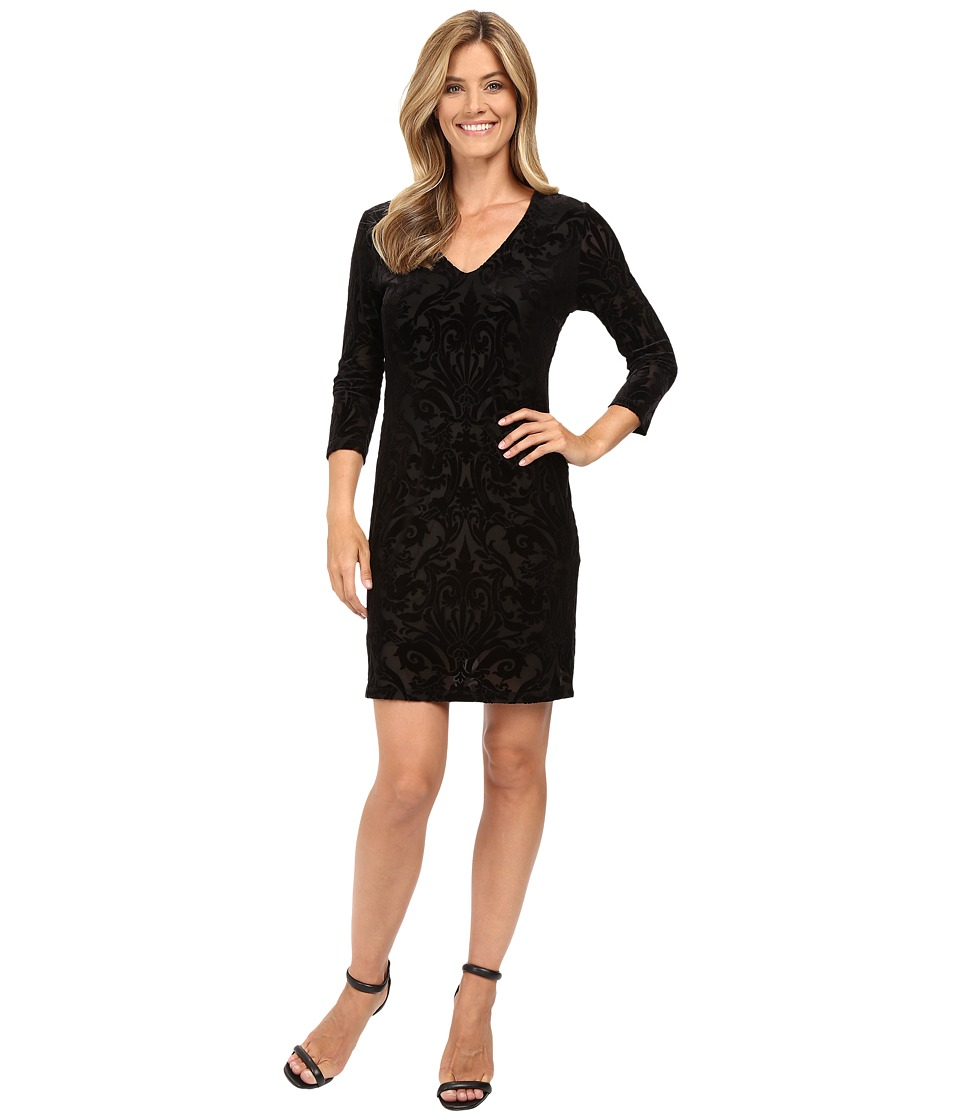 Karen Kane - Velvet Burnout Sheath Dress (Black) Women's Dress