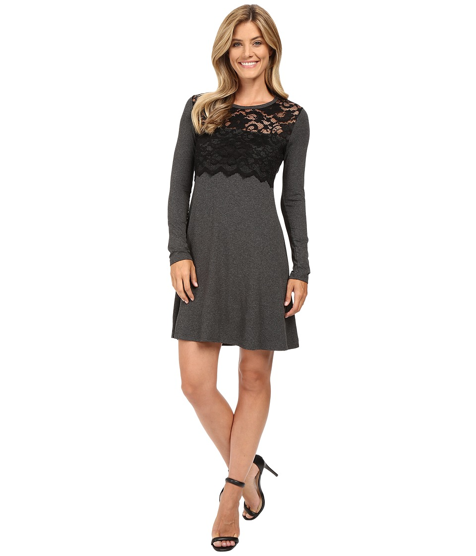 Karen Kane - Scallop Lace Overlay Dress (Dark Heather Grey/Black) Women's Dress
