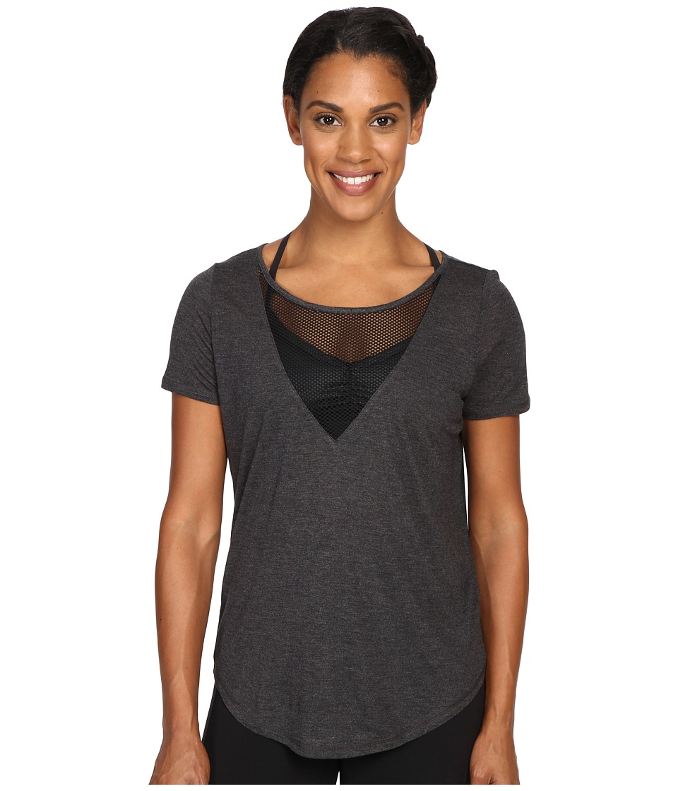 ALO - Shadow Short Sleeve Top (Charcoal Heather) Women's Workout