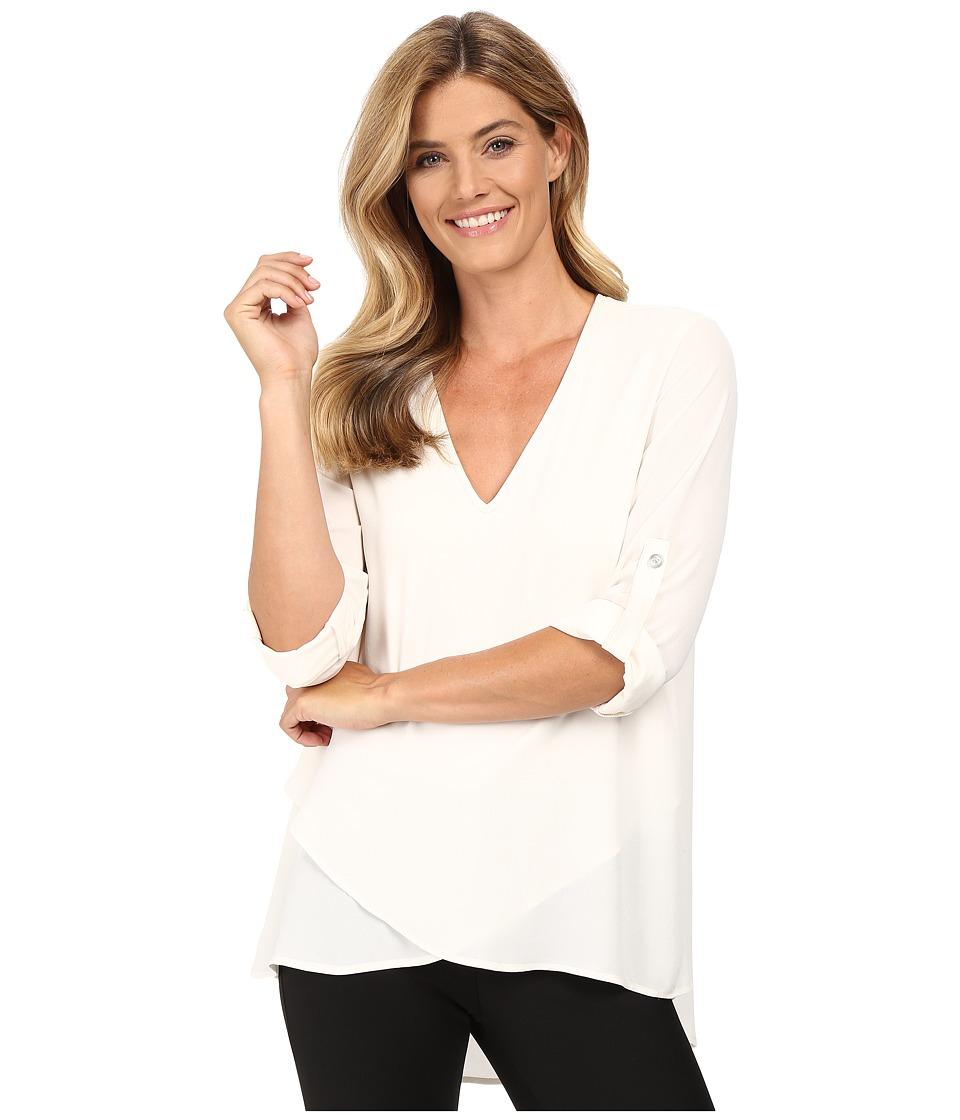Karen Kane - V-Neck Asymmetrical Hem Top (Cream) Women's Clothing