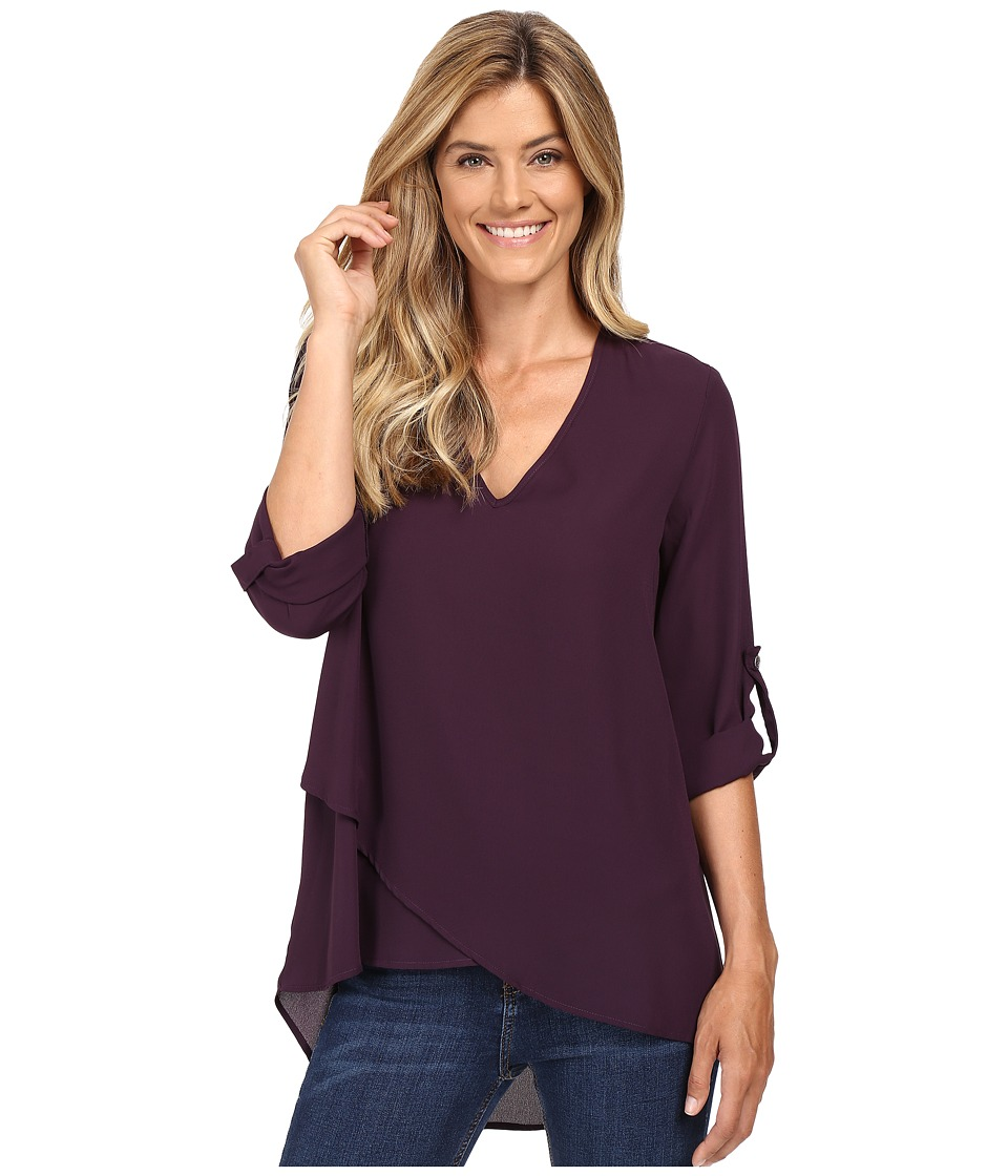 Karen Kane - V-Neck Asymmetrical Hem Top (Eggplant) Women's Clothing