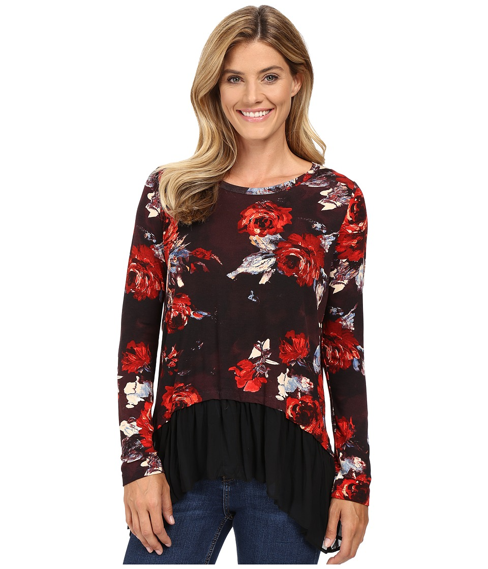 Karen Kane - Painted Rose Sheer Hem Top (Print) Women's Clothing