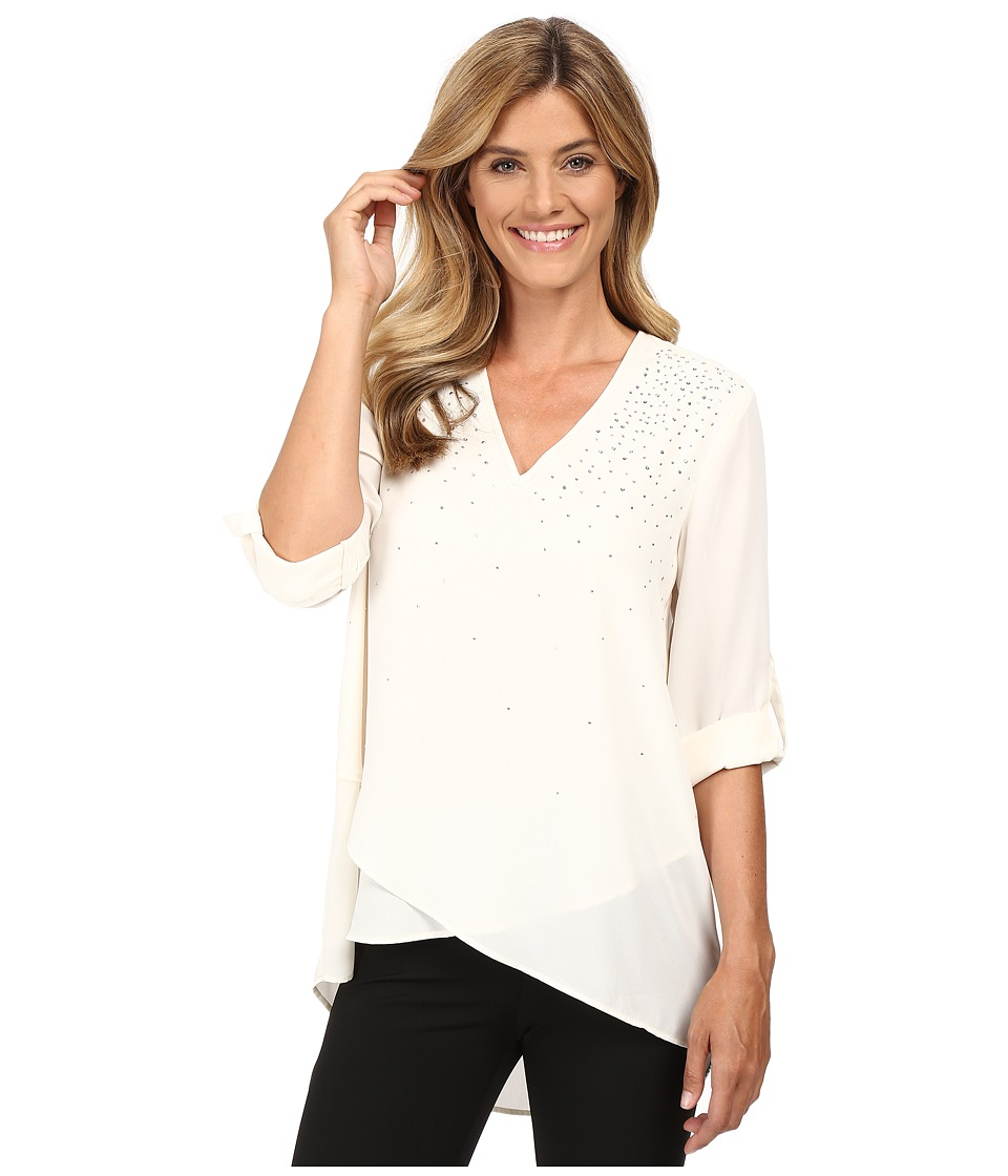 Karen Kane - Embellished Asymmetrical Hem Top (Cream) Women's Clothing