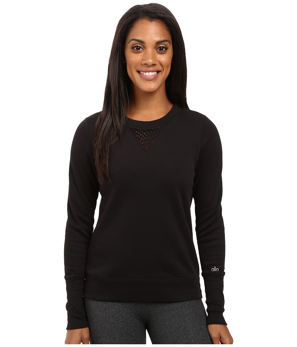 ALO - Downtown Long Sleeve Top (Black/Black) Women's Workout