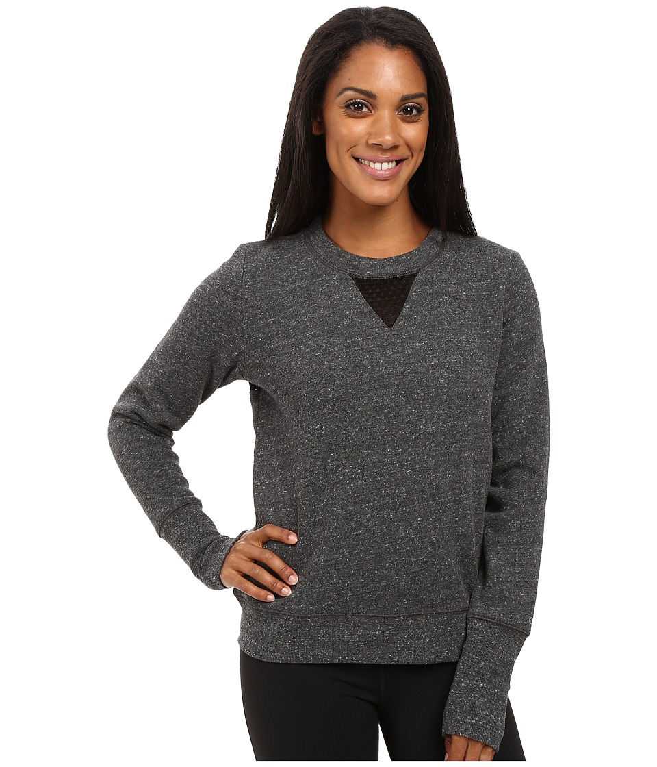 ALO - Downtown Long Sleeve Top (Charcoal Heather/Black) Women's Workout