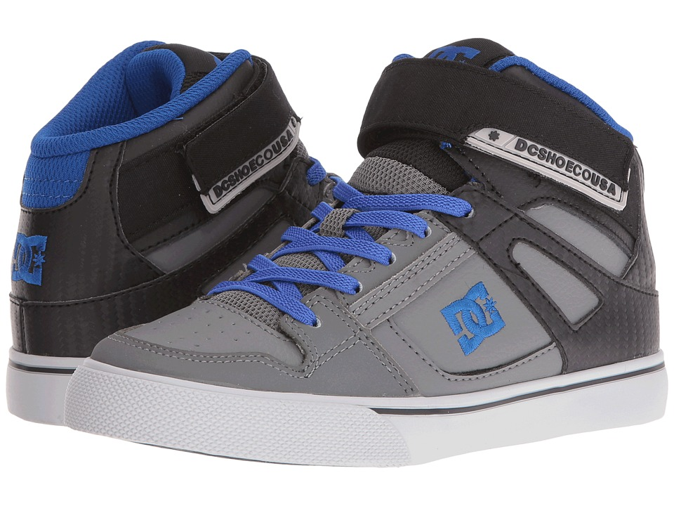 DC Kids - Spartan High EV (Little Kid) (Grey/Black/Blue) Boys Shoes