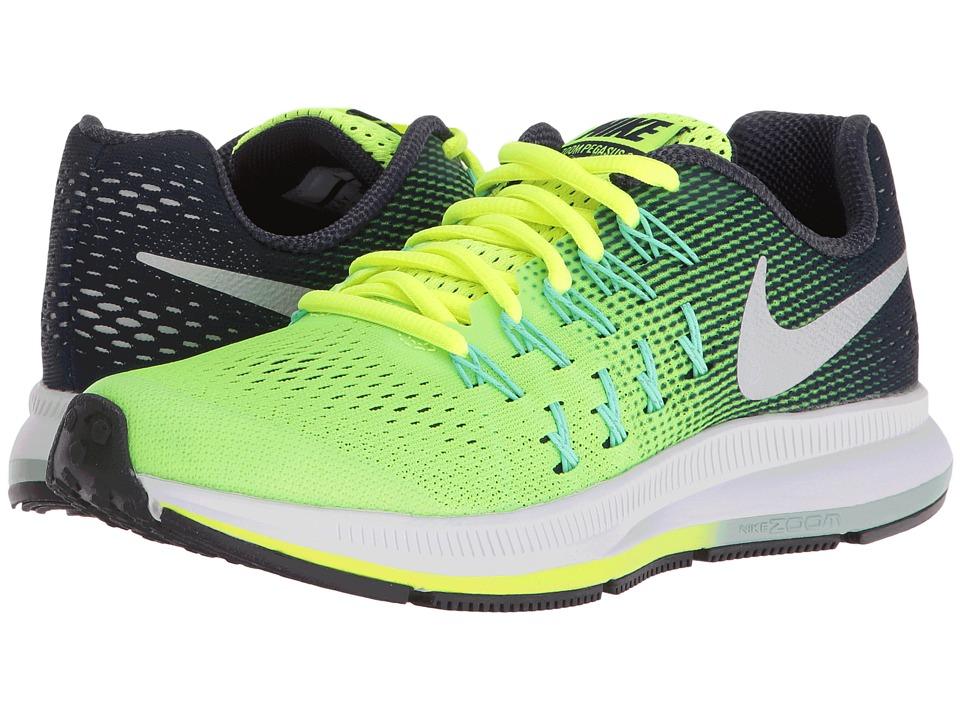Nike Kids - Zoom Pegasus 33 (Little Kid/Big Kid) (VOlt/Obsidian/Green Glow/Metallic Silver) Boys Shoes
