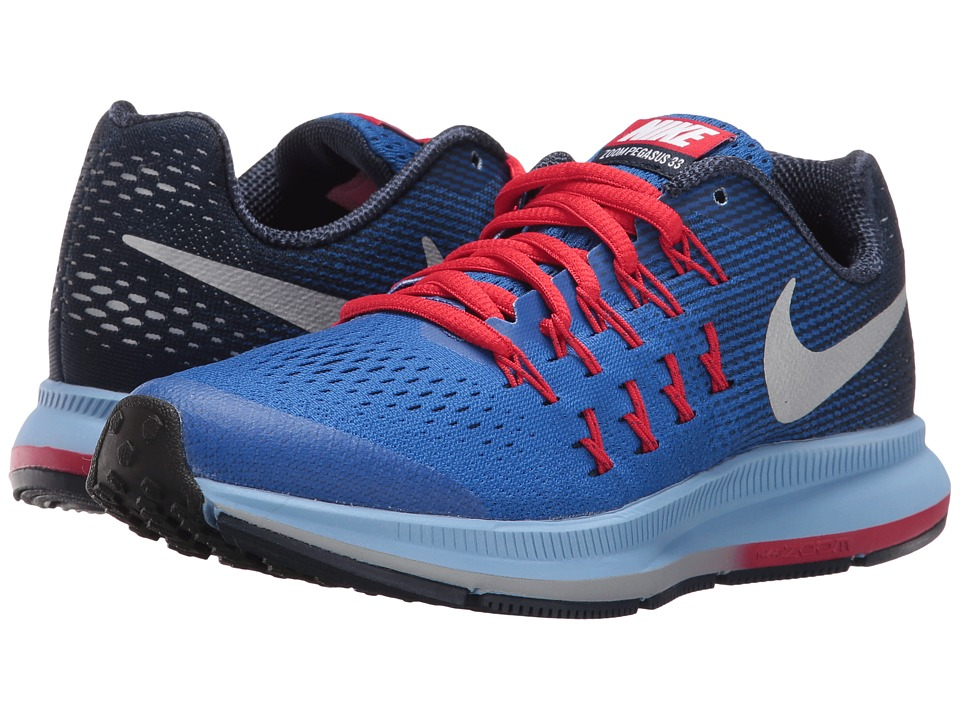 Nike Kids - Zoom Pegasus 33 (Little Kid/Big Kid) (Game Royal/Midnight Navy/Wolf Grey/Metallic Silver) Boys Shoes
