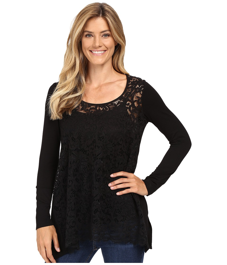 Karen Kane - Lace Front Handkerchief Top (Black) Women's Clothing