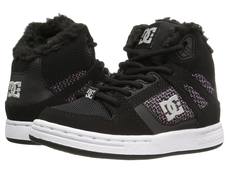 DC Kids - Rebound WNT (Little Kid) (Black/White/Pink) Girls Shoes