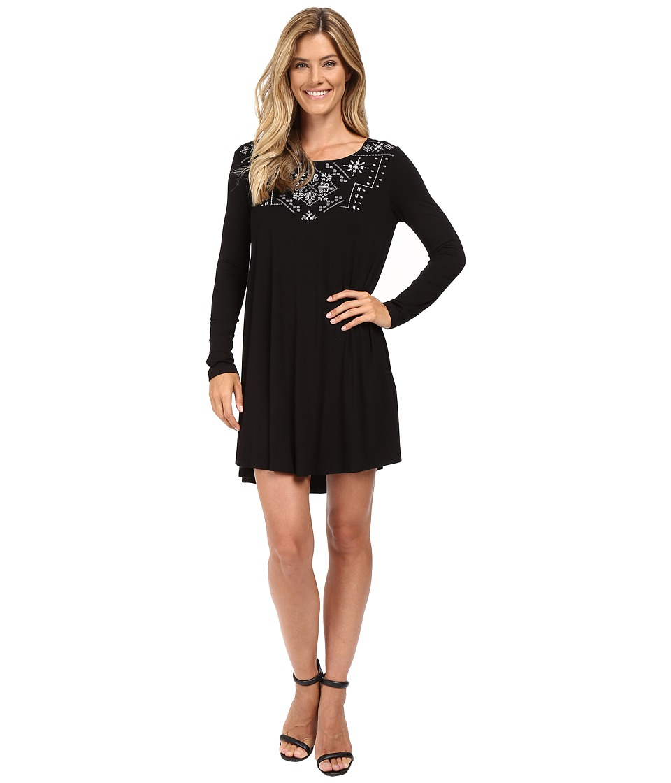 Karen Kane Embroidered Maggie Trapeze Dress (Black/Grey) Women