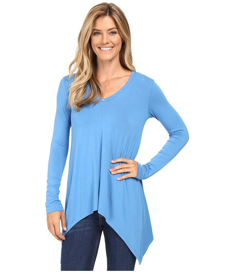 Karen Kane V-Neck Handkerchief Tunic (Cloud) Women's Blouse