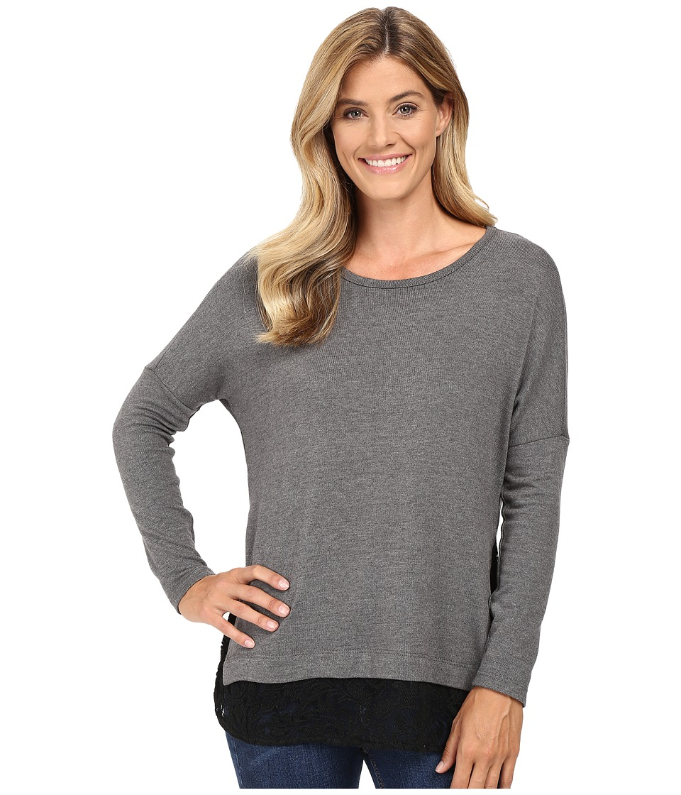 Karen Kane - Lace Hem Sweater Top (Dark Heather Grey/Black) Women's Sweater