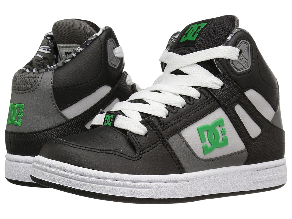 DC Kids - Rebound SE (Little Kid) (Black/Green/White) Boys Shoes