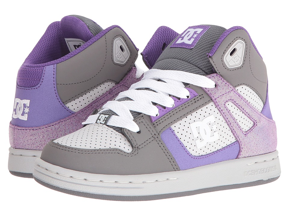 DC Kids - Rebound SE (Little Kid) (Grey/Grey/White) Girls Shoes