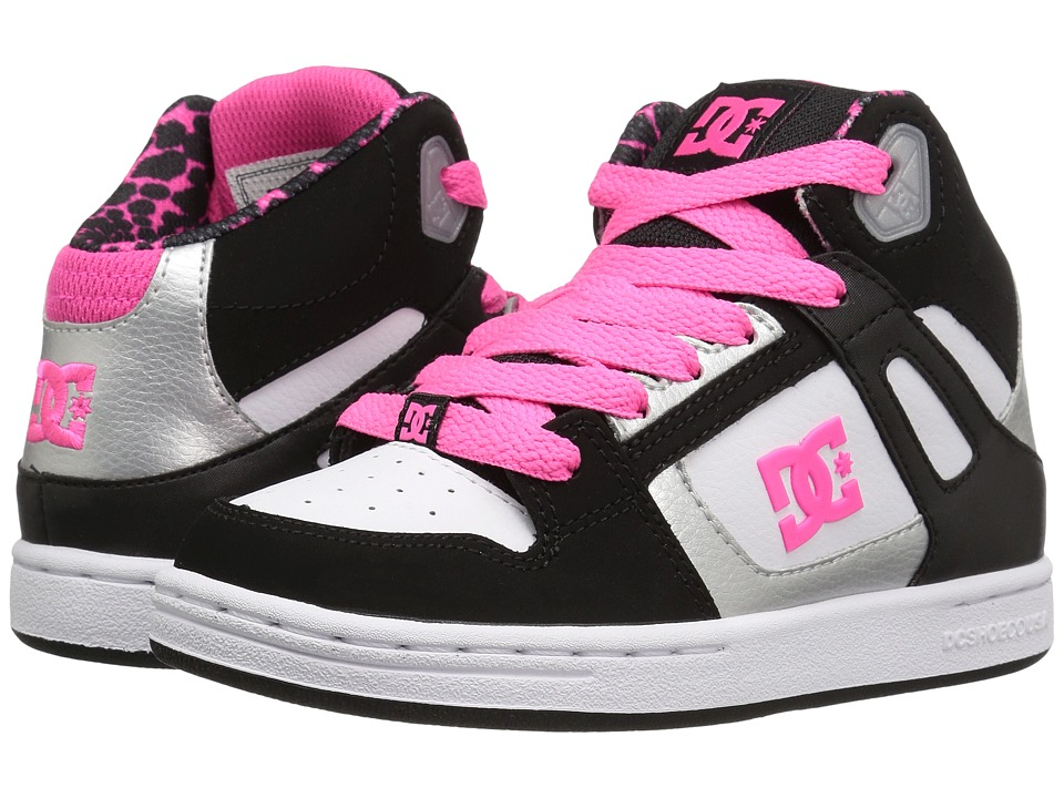 DC Kids - Rebound SE (Little Kid) (Black/White/Pink) Girls Shoes