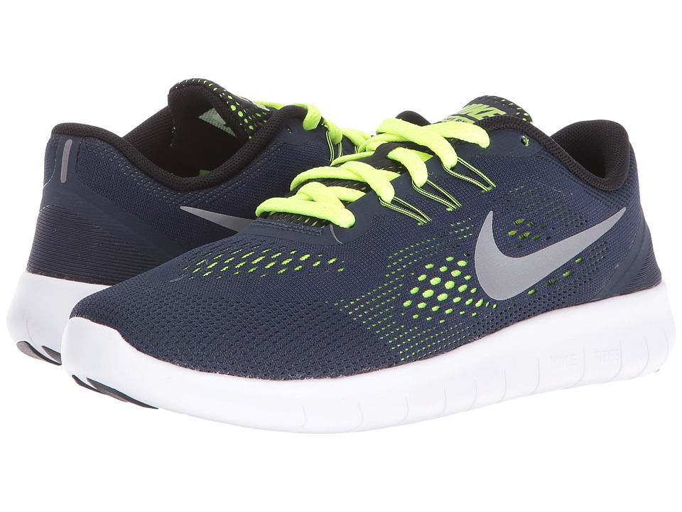 Nike Kids - Free RN (Big Kid) (Obsidian/Volt/Black/Metallic Silver) Boys Shoes