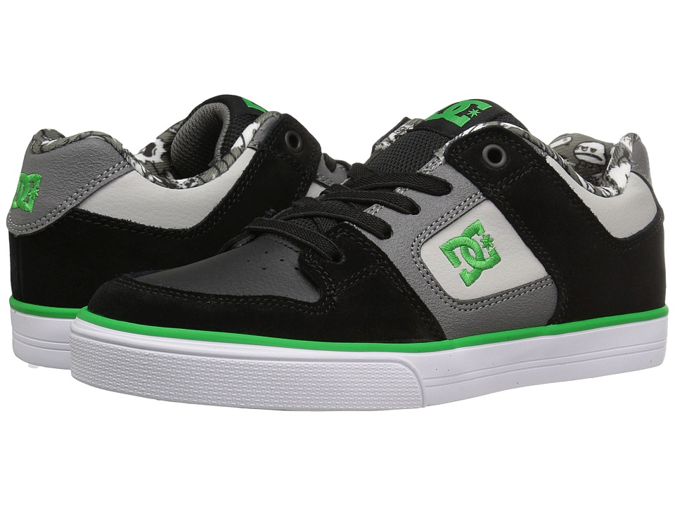 DC Kids - Pure Elastic SE (Little Kid) (Black/Grey/Green) Boys Shoes