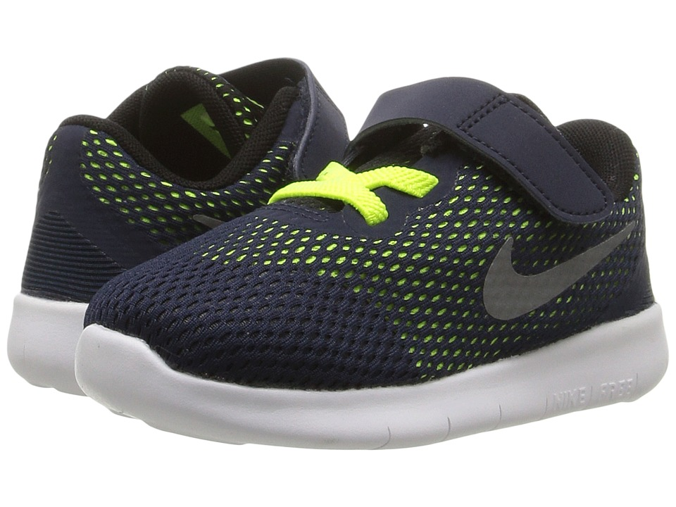 Nike Kids - Free RN (Infant/Toddler) (Obsidian/Volt/Black/Metallic Silver) Boys Shoes