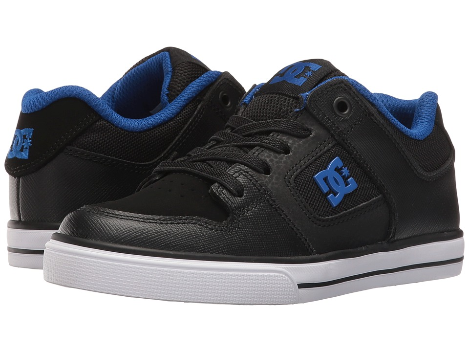 DC Kids - Pure Elastic (Little Kid) (Black/Black/Blue) Boys Shoes