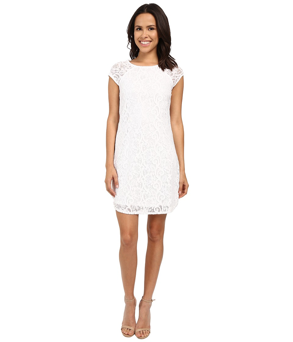 Laundry by Shelli Segal - Lace Shift Dress with Side Zippers (Optic White) Women's Dress