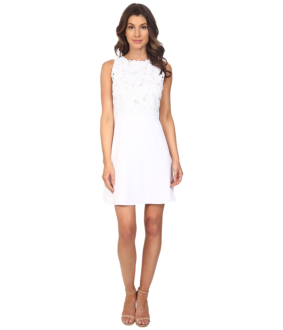 Laundry by Shelli Segal - Embroidered Mixed Fabric A-Line Sheath Dress (Optic White) Women's Dress