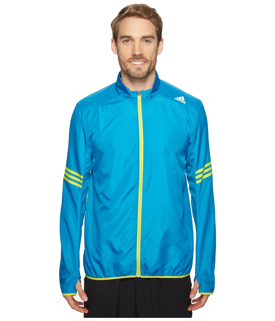 adidas - Response Wind Jacket (Unity Blue/Shock Slime) Men's Coat