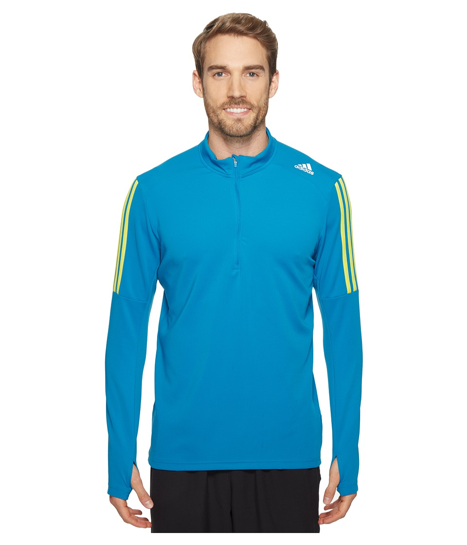 adidas - Response Long Sleeve 1/2 Zip T-Shirt (Unity Blue/Shock Slime) Men's T Shirt