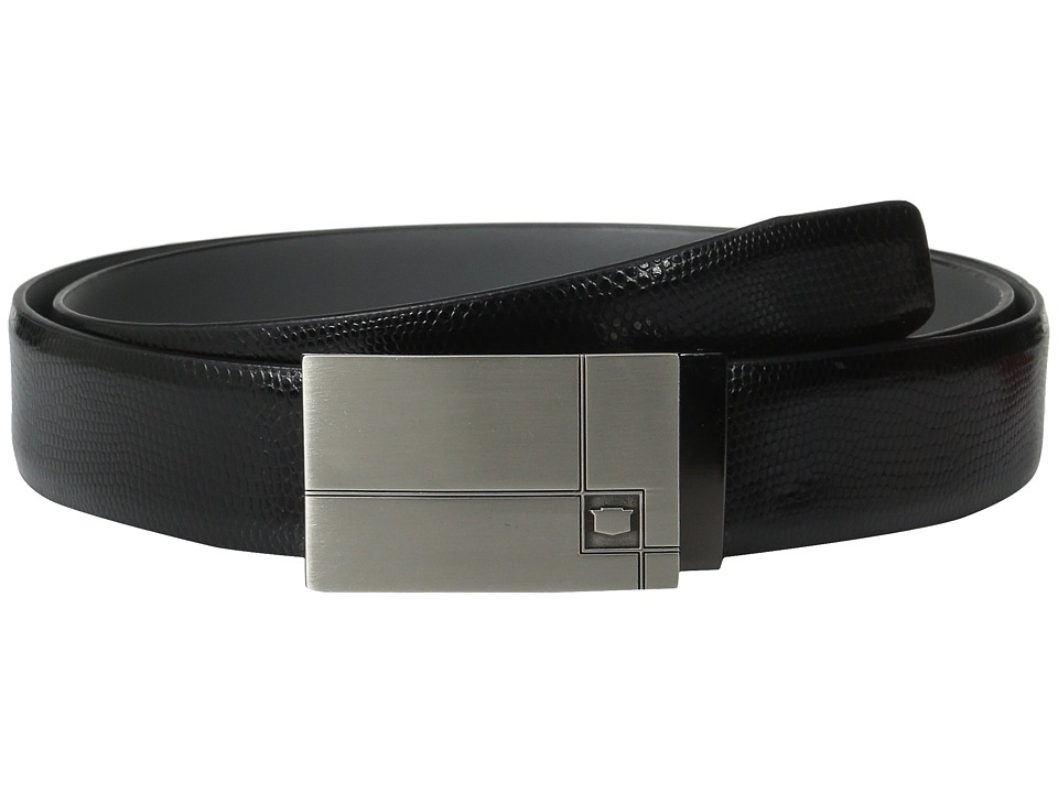 Florsheim - 35mm Embossed Lizard Grain Leather Belt (Black) Men's Belts
