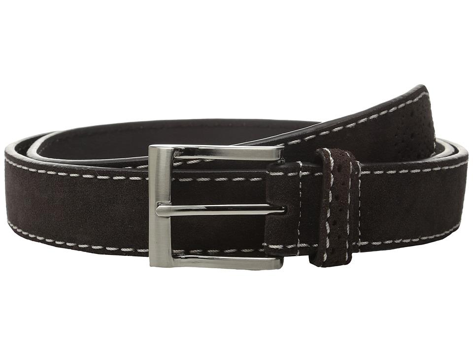 Florsheim - 32mm Suede Leather Belt (Brown) Men's Belts