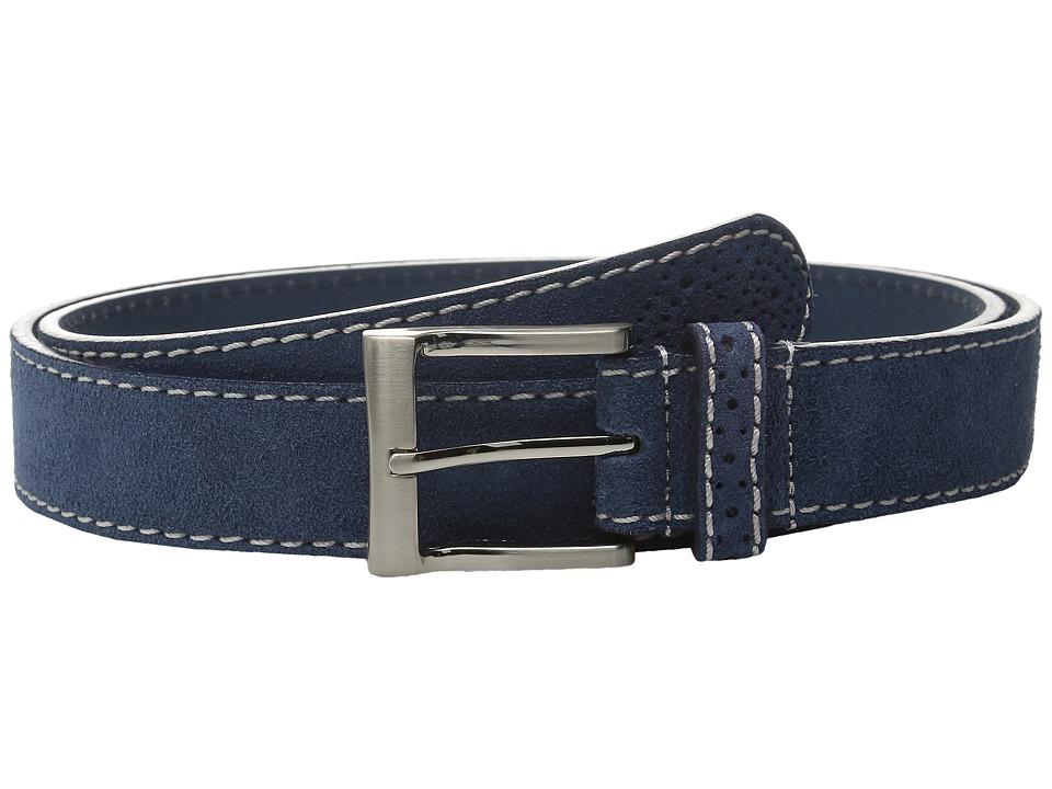 Florsheim - 32mm Suede Leather Belt (Navy) Men's Belts