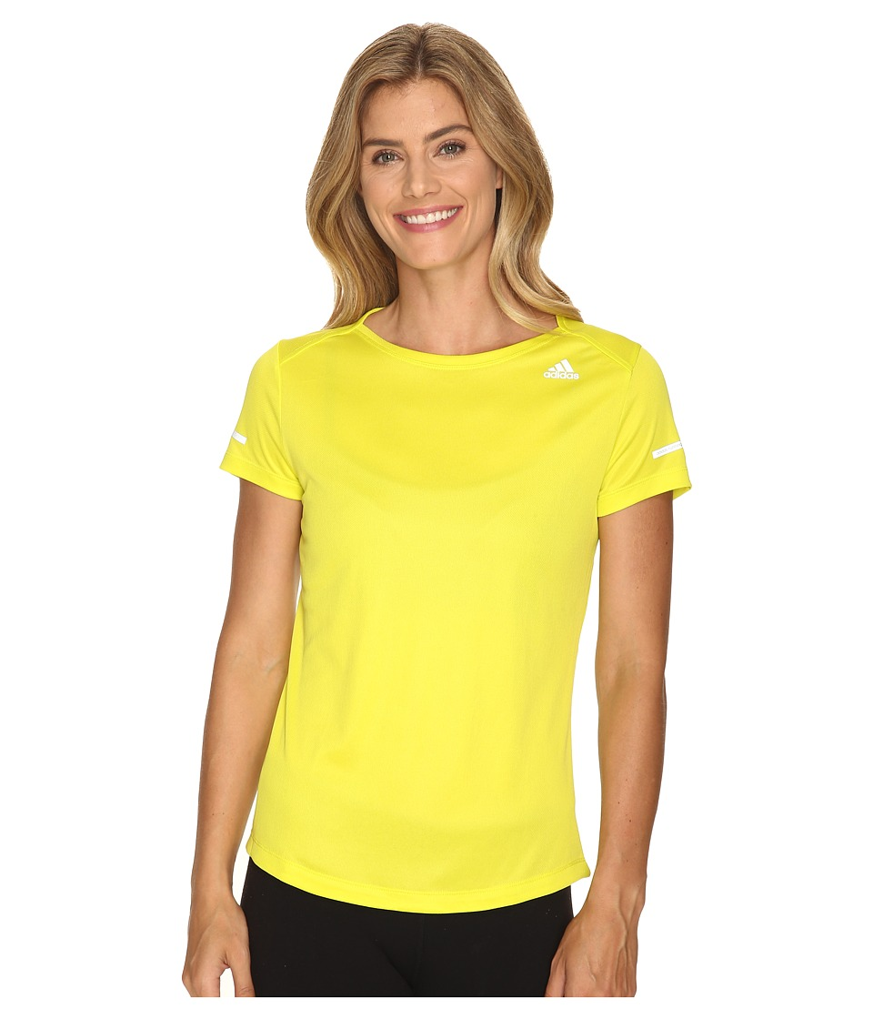 adidas - Run Short Sleeve Tee (Shock Slime) Women's Short Sleeve Pullover