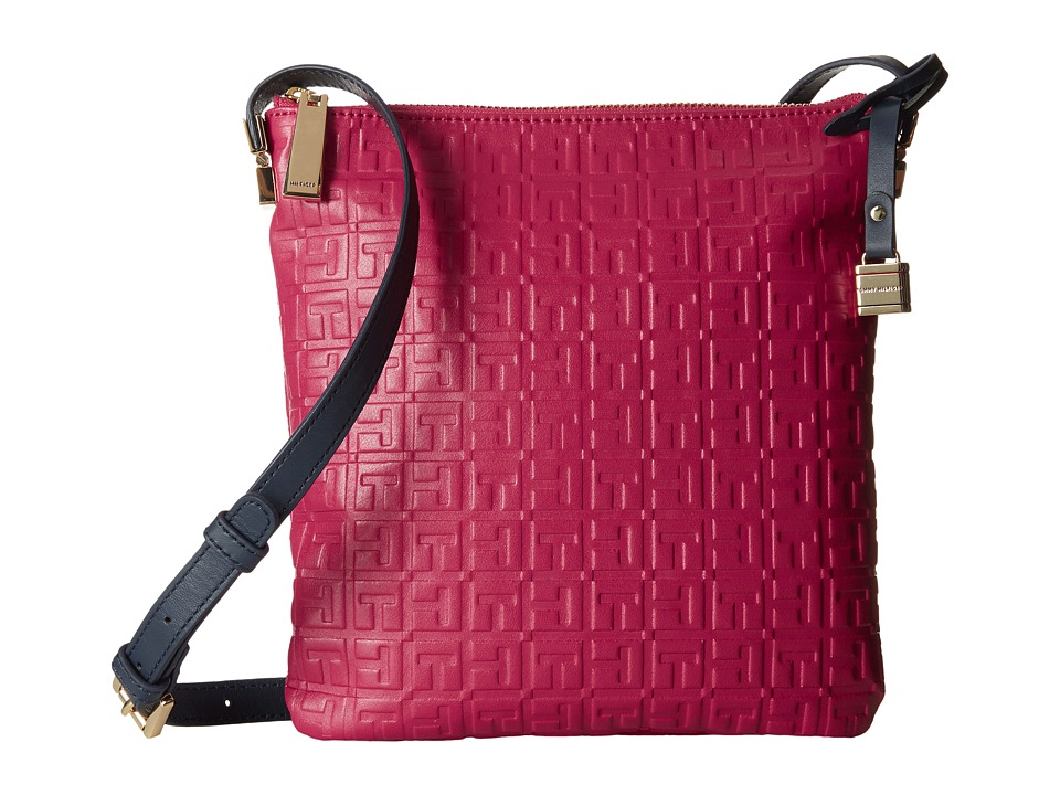 Tommy Hilfiger - TH Hinge - North/South Crossbody (Raspberry) Cross Body Handbags