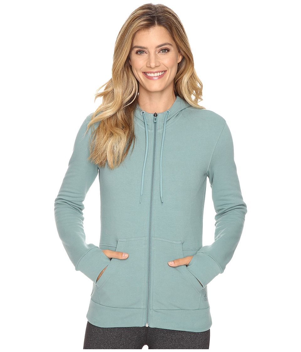 adidas - 247365 Full Zip Hoodie (Vapour Steel) Women's Sweatshirt