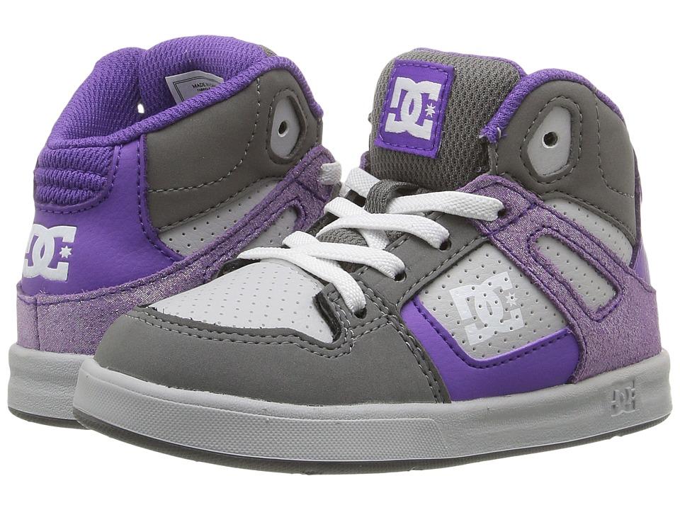 DC Kids - Rebound SE UL (Toddler) (Grey/Grey/White) Girls Shoes