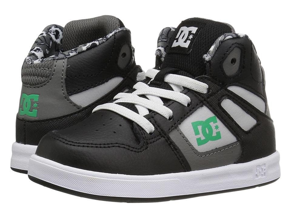 DC Kids Rebound SE UL (Toddler) (Black/Green/White) Boys Shoes