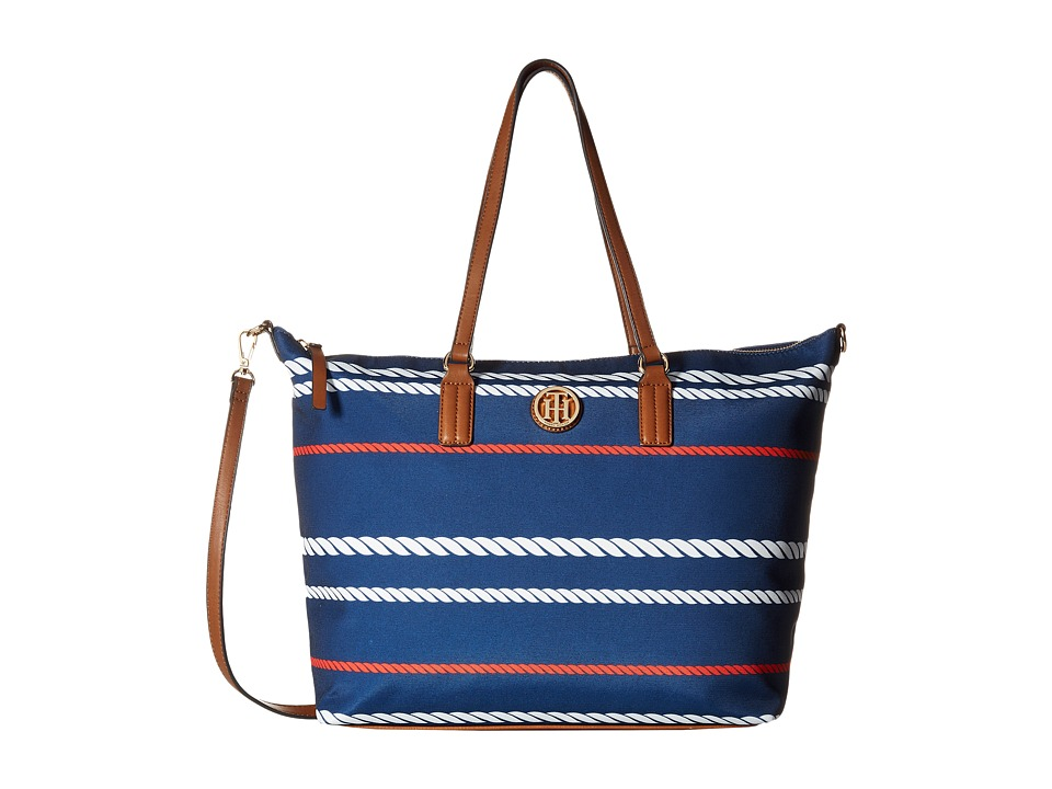 Tommy Hilfiger - Ivy - Heavy Nylon Convertible Tote (Navy Multi) Tote Handbags