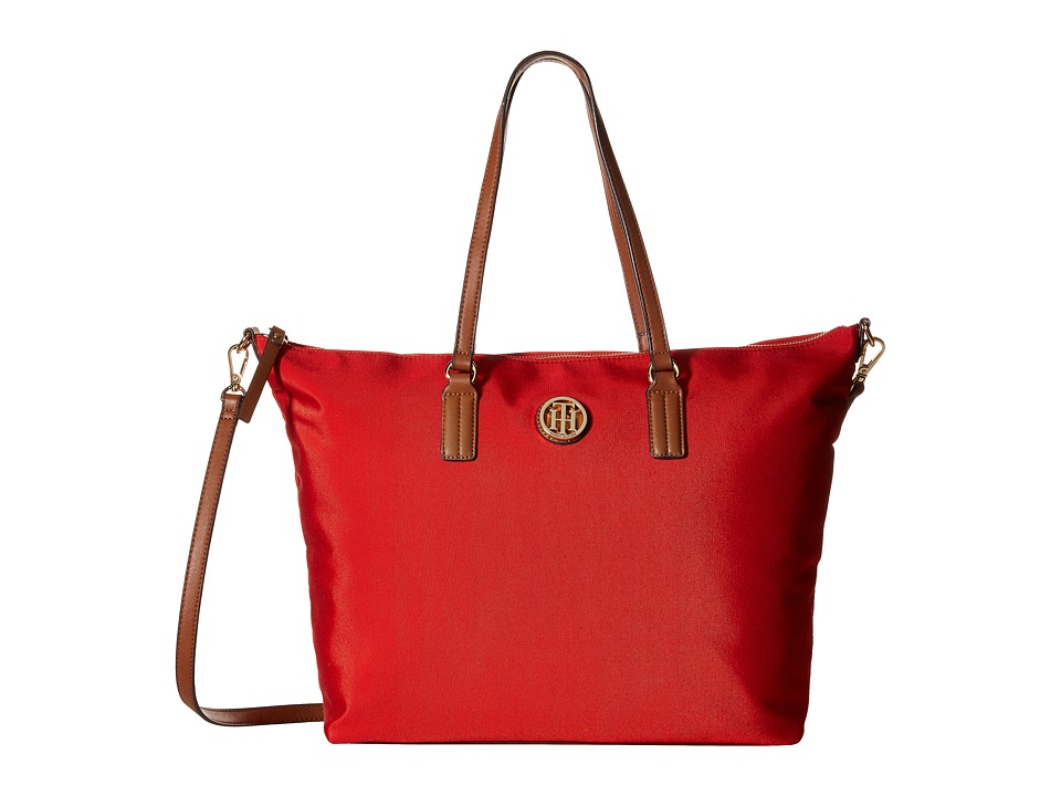 Tommy Hilfiger - Ivy - Heavy Nylon Convertible Tote (Fiery Red) Tote Handbags