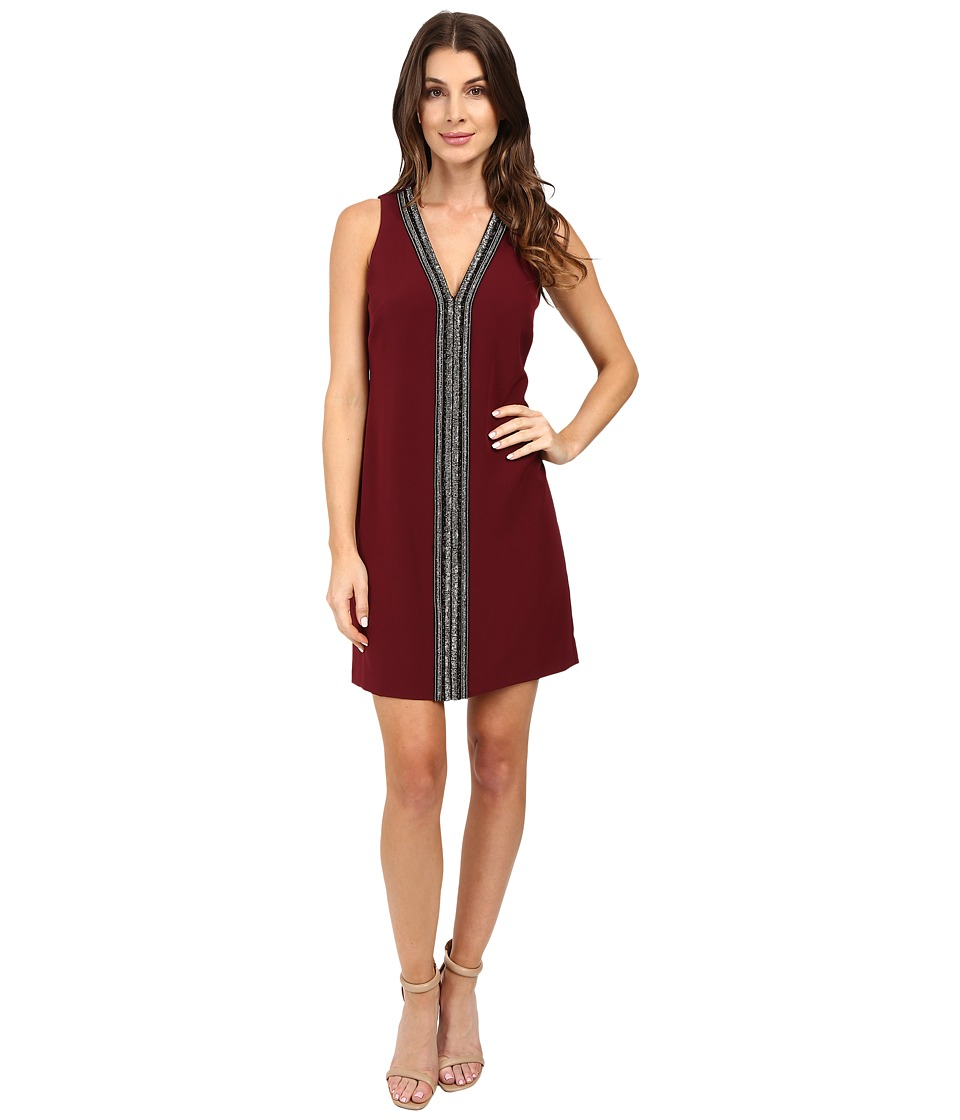 Laundry by Shelli Segal - Sleeveless Beaded V-Neck Dress (Deep Garnet) Women's Dress