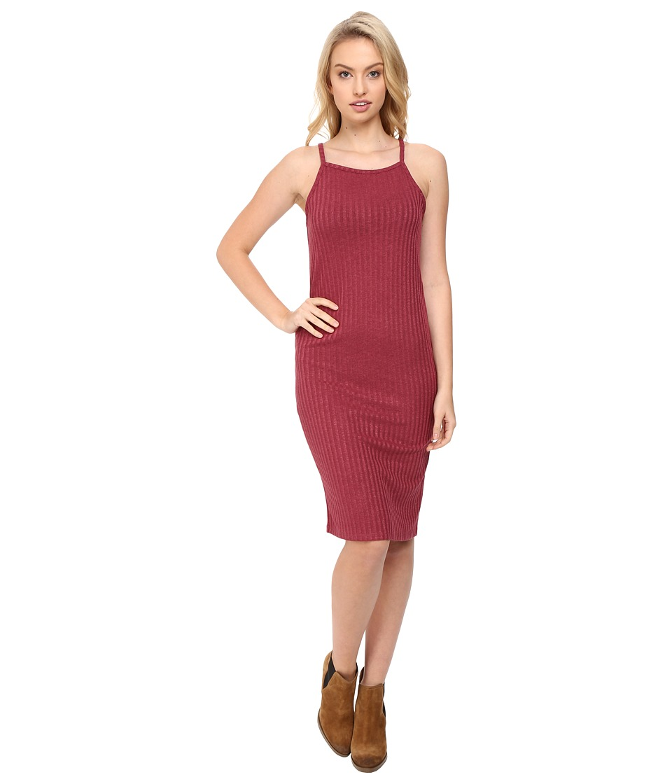 kensie Rayon Rib Dress KS8U7105 (Crimson) Women