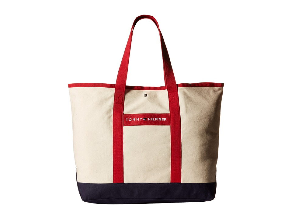 Tommy Hilfiger - TH Sport - Core Plus Tote (Natural/Navy/Red 1) Tote Handbags
