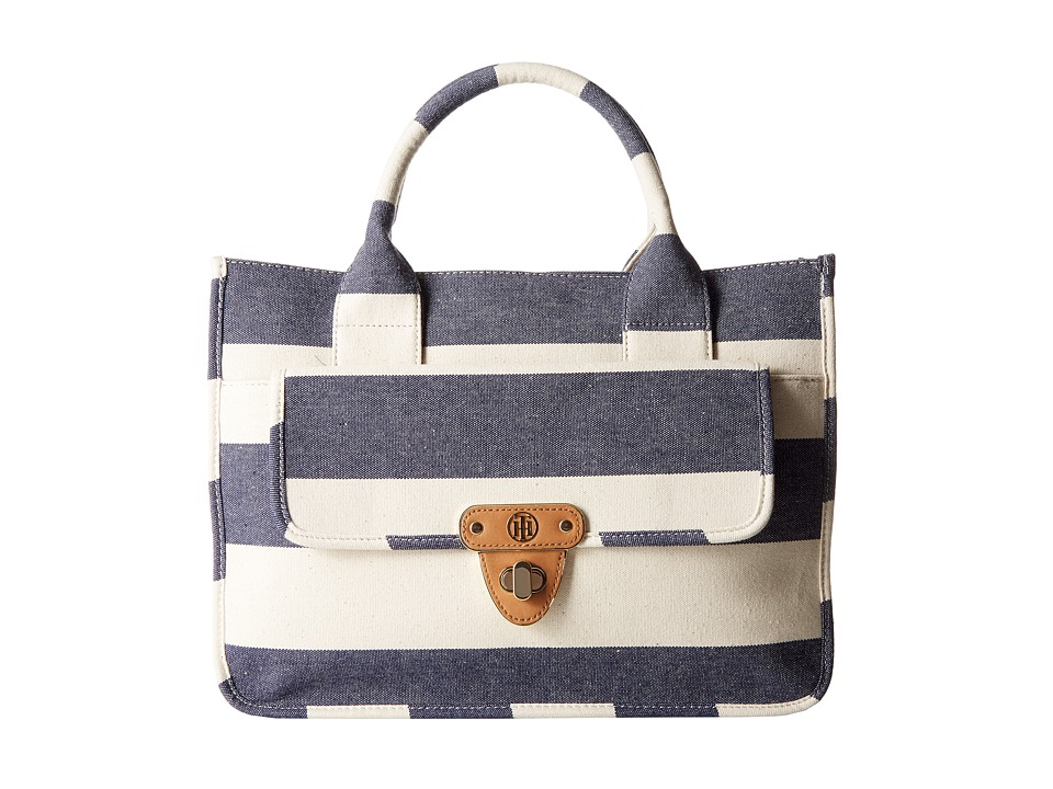 Tommy Hilfiger - Striped Canvas - Tote (Navy/Natural) Tote Handbags