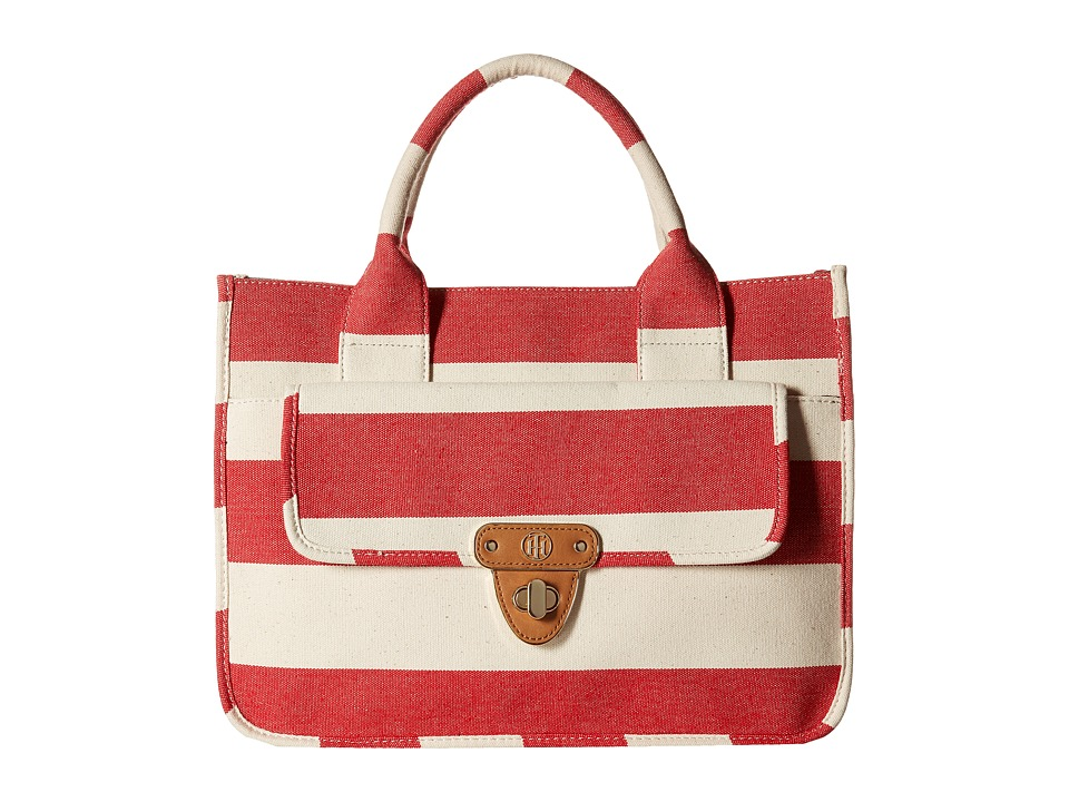 Tommy Hilfiger - Striped Canvas - Tote (Red/Natural) Tote Handbags