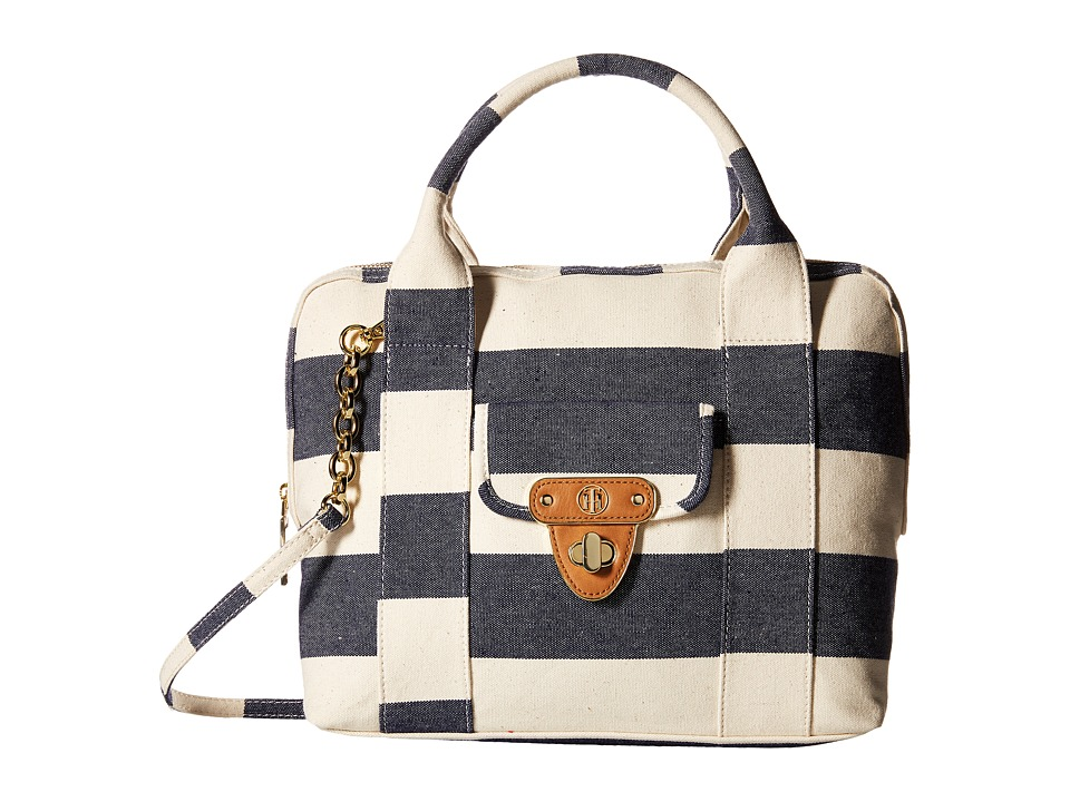 Tommy Hilfiger - Striped Canvas - Dome Satchel (Navy/Natural) Satchel Handbags
