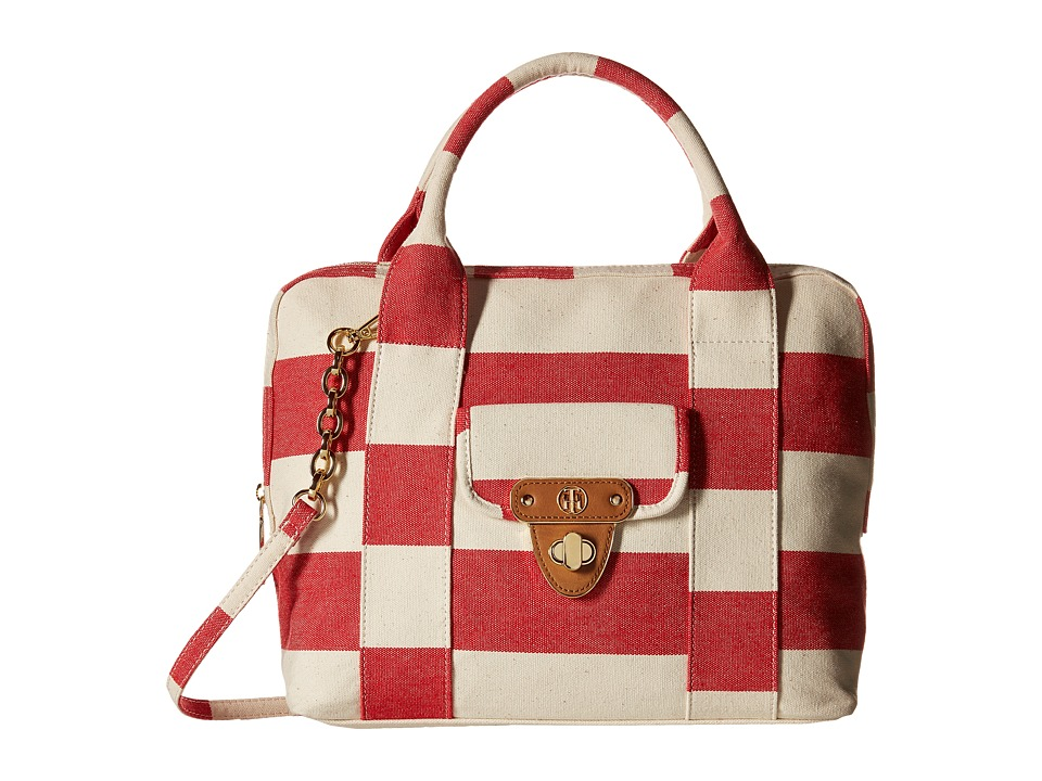 Tommy Hilfiger - Striped Canvas - Dome Satchel (Red/Natural) Satchel Handbags