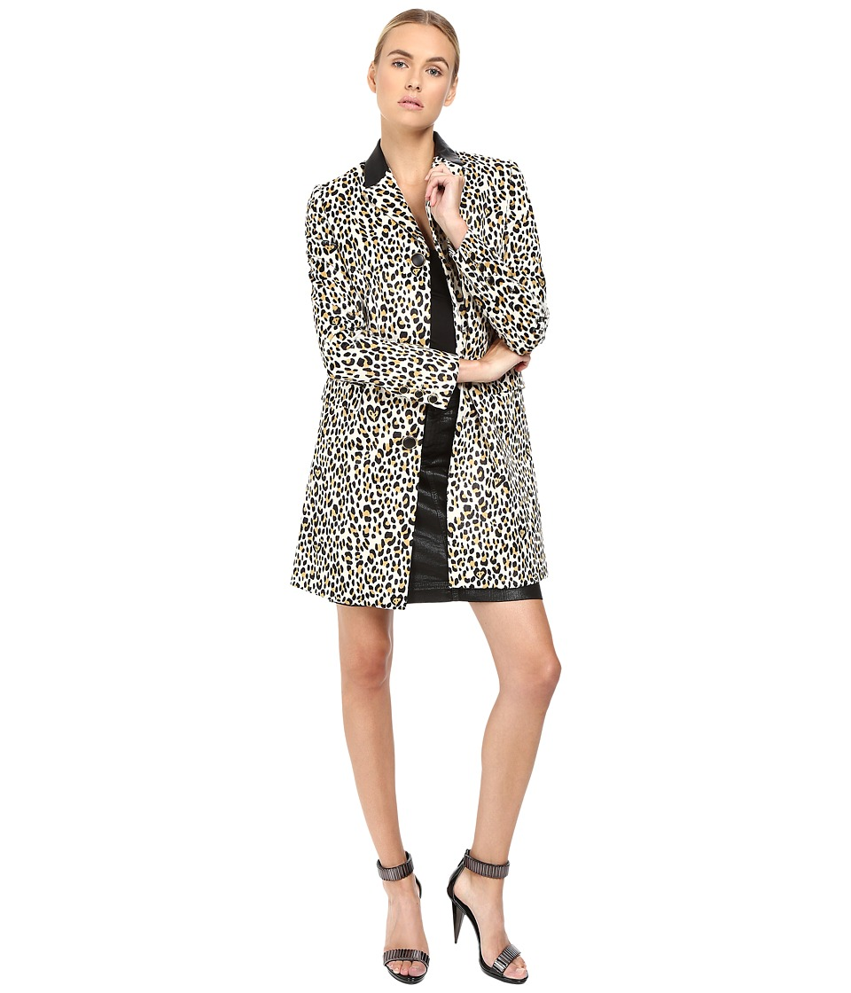 Just Cavalli - Love Cat Print Button Front Runway Jacket (Natural Varient) Women's Coat