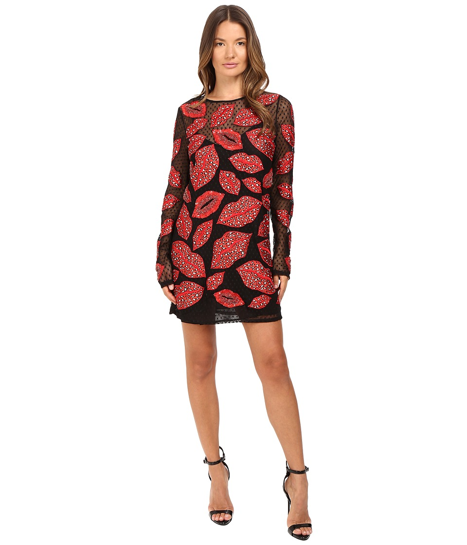 Just Cavalli All Over Lips Long Sleeve Runway Dress (Red) Women