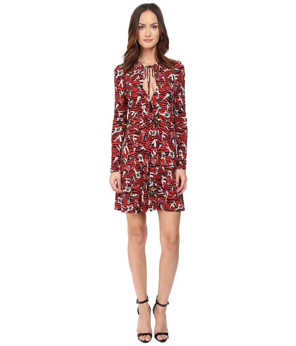 Just Cavalli Pin Up Printed Long Sleeve Runway Dress (Red Variant) Women
